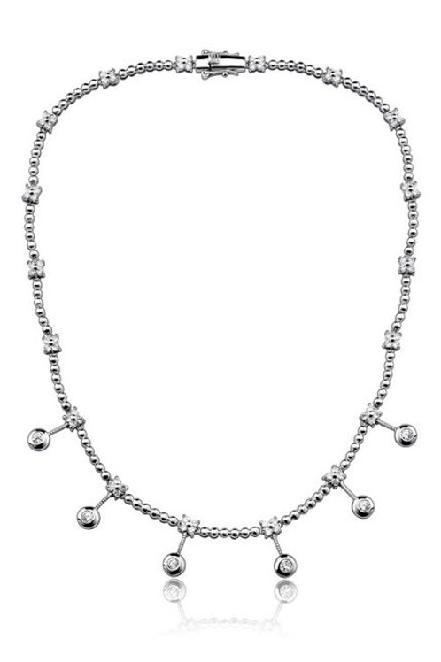 C.Z. Sterling Silver Rhodium Plated Bezel Necklace NEC514