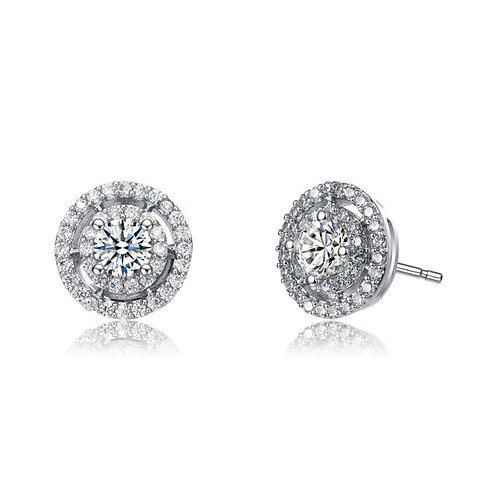 Sterling Silver Halo Style Pave` Set Stud Earrings TCE-EAR7602