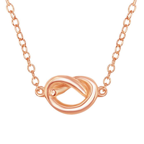 Sterling Silver Rose Gold Plated Small Love Knot Necklace CL-L-4046-RG