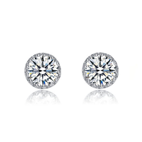1.00ctw Sterling / Rhodium Plated Round Stud Earrings TCE-EAR0005
