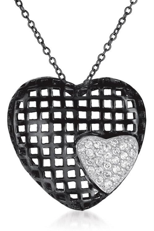 Sterling Silver Black Plated Heart Shape Lace Pendant CSN-PEN8018-BP