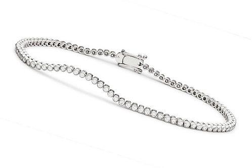 Sterling Silver Cubic Zirconia Round Bezel-set Bracelet 3mm BR2090