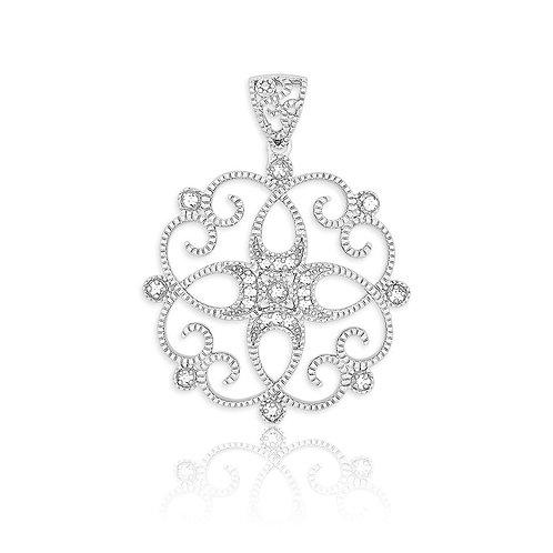 Sterling Silver Genuine Diamond Pendant W/Chain TCSN-K-6471