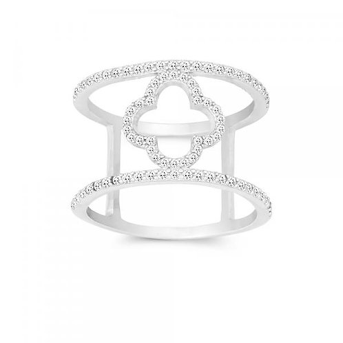 STERLING SILVER DOUCLE CZ WIRE RING