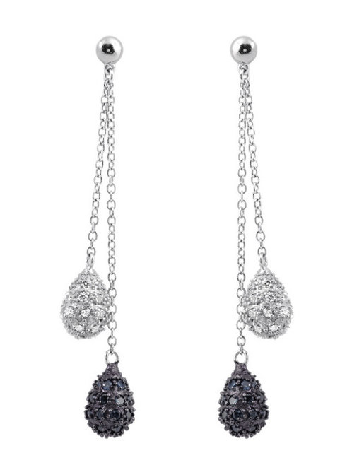 Sterling Black and White Stone Tear Drop Pave` Earrings CSE-EAR1207-BLK