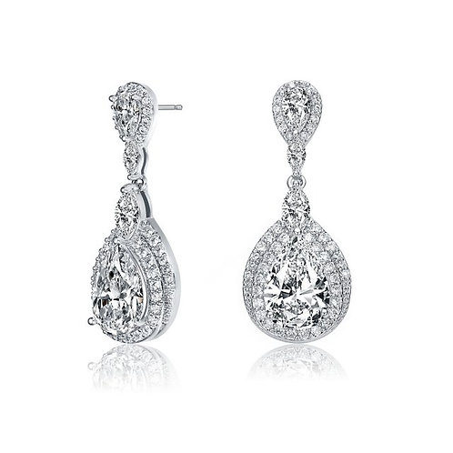 Sterling Silver with Rhodium Plated Stunning Drop Earrings TE-EAR0458