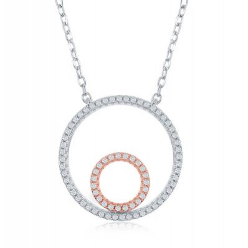 """Sterling Silver 16+2"""" Two-Tone Double Open Circle Necklace CSN-M-5864"""