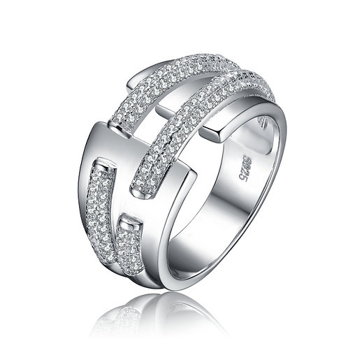 Sterling Silver Pave Deco Ring CSR-R5812