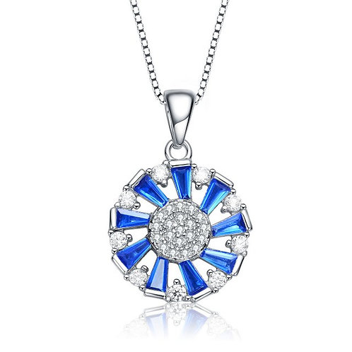 Sterling Silver Round and Sapphire Style Baguette Pendant TCSN-PEN76