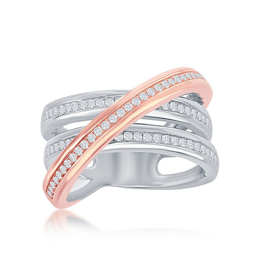Sterling Silver Two-Tone Rose Gold CrossOver Ring CSR-W-2051