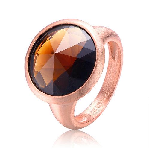 Rose Toned Sterling Silver Smokey Topaz Ring CSR-R8710-8-SQ-ROSE