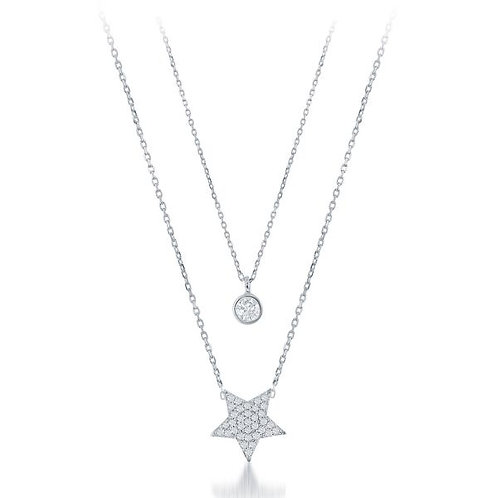 Platinum Plated SS Small Star Double Strand Necklace CSN-M-5239