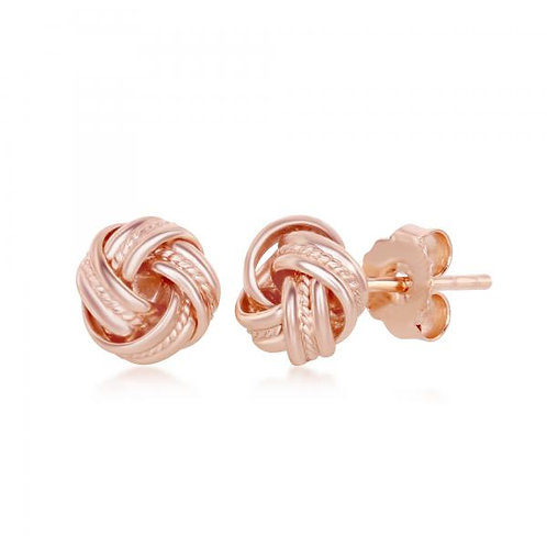 Sterling Silver Rose Gold Plated Beaded Love Knot Stud Earrings CSE-A-2563