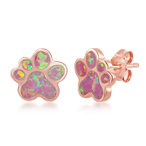 Sterling Silver Rose Gold Plated Pink Inlay Opal Paw Stud Earrings CL-D-6911