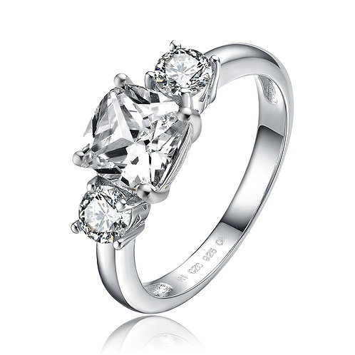 Sterling Silver 3-Stone Engagement Stone Ring TR-R4029-CZ-RP