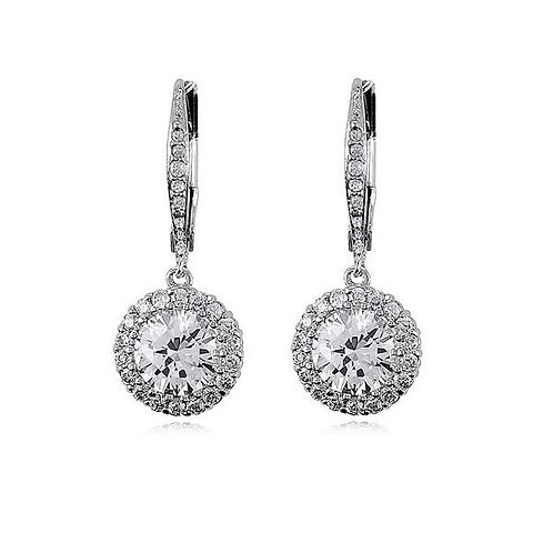 CZ DANGLING Halo Set EARRINGS D-4867