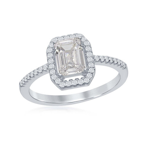 Sterling Silver Emerald-Cut White Stone Ring CL-W-1877