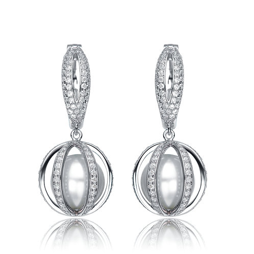 Sterling Silver Pearl Vault Earrings TCSE-EAR9232