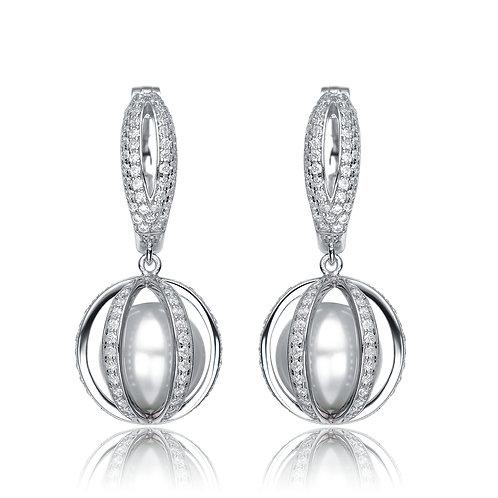 Sterling Silver Pearl Vault Earrings TCSE-EAR9232