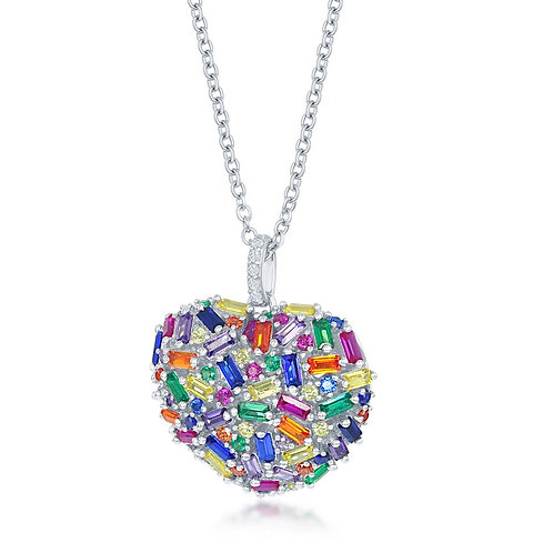 Sterling Silver Rainbow Baguette Puffed Heart Necklace CSN-M-6278