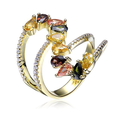 Sterling Silver with Gold Plated Split Shank Multi Colored CSR-R9938-MC-GP