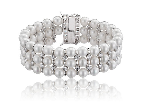Sterling Silver Cubic Zirconia 3 Row Pearl Bracelet BR1201-PRL