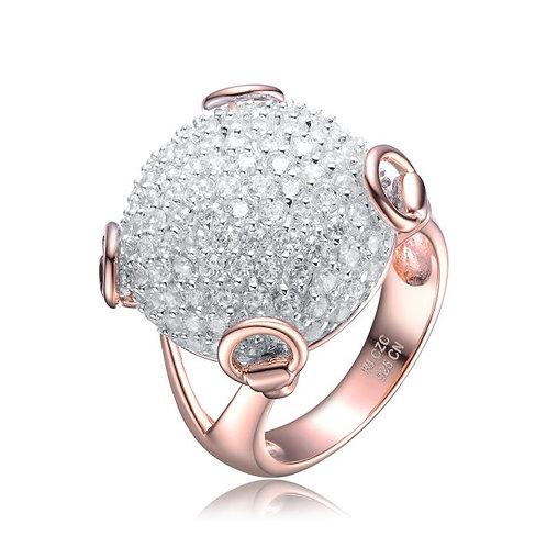 Sterling silver with Rose Gold Plated Pave` Ball Ring CSR-R1682