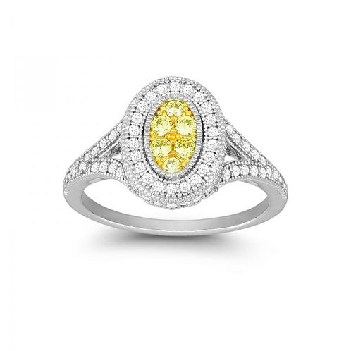 OVAL CANARY AND WHITE CZ MICRO PAVE RING W-9904
