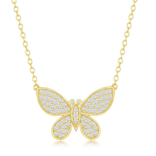 Sterling Silver Gold Plated Micro Pave Butterfly Necklace CN-M-6299-GP