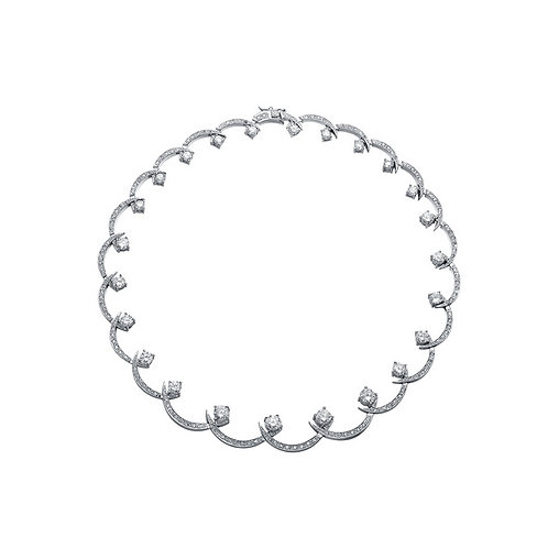 Sterling Silver Pave Swirl Necklace TN-NS11