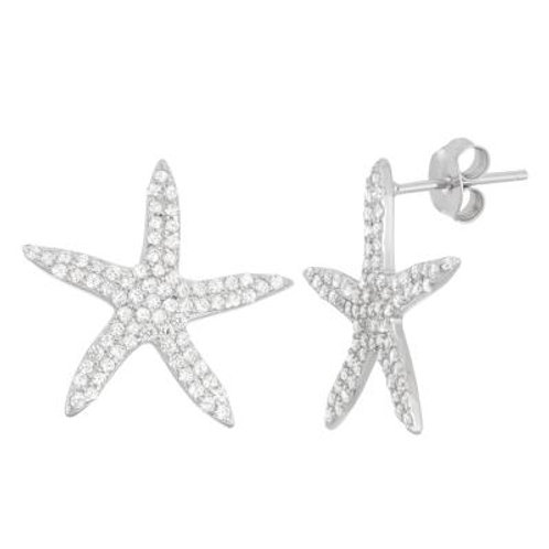 Sterling Silver Pave' Set Starfish Stud Earrings CSE-D-5938