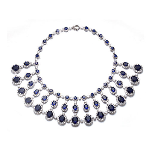CZ And Sapphire Necklace MK02-S