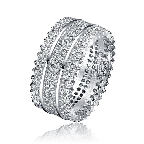 Pave` Set Sterling Silver 3 Row Ring TCR-R2135