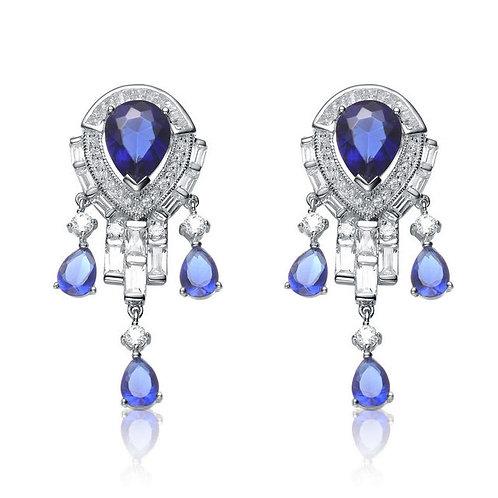 Sterling Silver Sapphire Style Chandelier Earrings TE-EAR1128