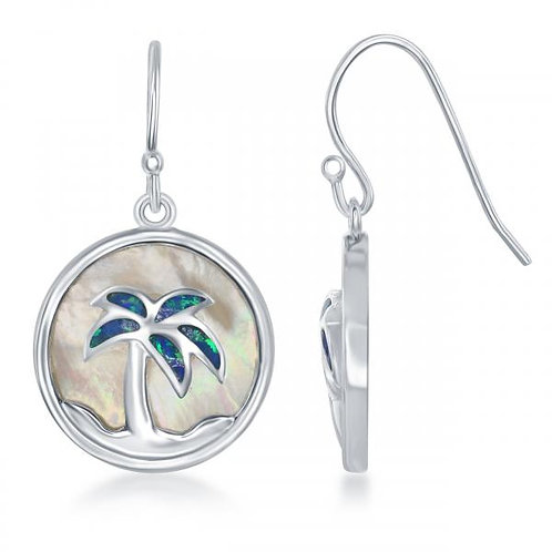 Sterling Silver Round MOP with Blue Inlay Opal Palm Tree Earrings CSE-D-6219