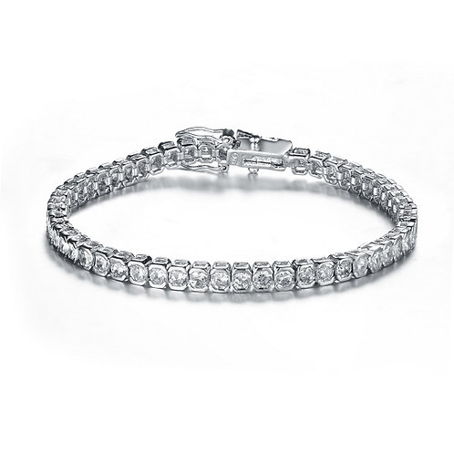 CZ Sterling Silver Square Tennis Bracelet 4mm BR1464
