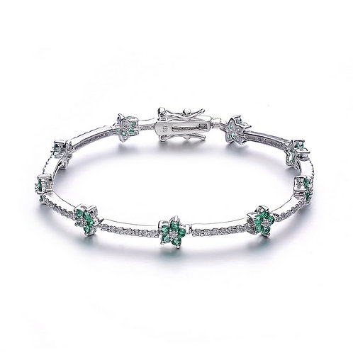 Sterling Silver Emerald and White  Stone Flower Bracelet TCSB-BR608-E