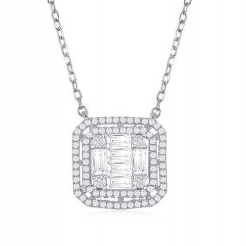 Sterling Silver Double Square Baguette Stone Necklace TCN-M-5869