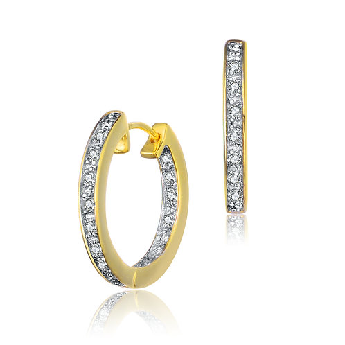 Small Gold Plated Huggie Stone Earrings CE-EAR400-1-GP