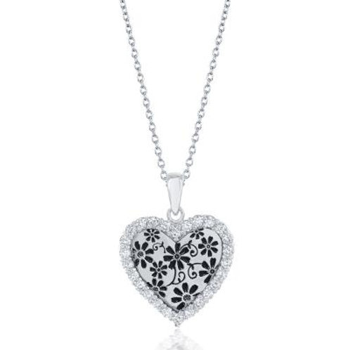 Sterling Silver Heart with Flower Design Pendant CSN-M-5331