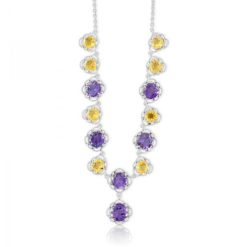 ALTERNATING AMETHYST AND CITRINE FLOWER NECKLACE  M-4763
