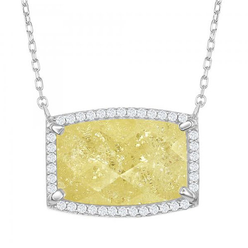Sterling Silver Rectangle Yellow Stone Halo Design Necklace TCSN-M-5697