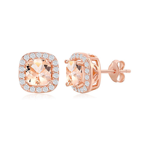 Sterling Silver Rose Gold Plated Square Morganite Stud Earrings CL-D-6923