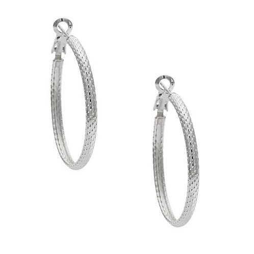 Sterling Silver Platinum Plated 35mm Hoop Earrings CE-A-2098