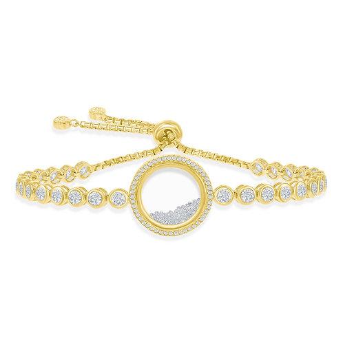 Sterling Silver Yellow Toned Floating Bezel-Set Adjustable Bracelet CS-T-7628-GP