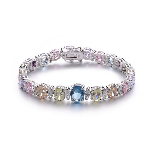 Sterling Silver Bracelet With Oval Colored Stone CSB-BR857-MC