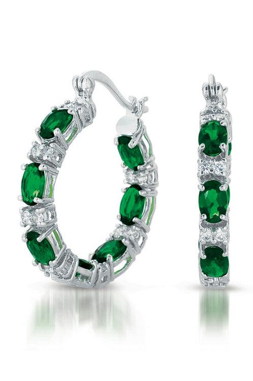 Sterling Silver Emerald Colored Stone Hoop Earrings TCE-EAR2026-L-E