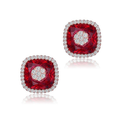 Sterling Silver /Ruby Style Pave` TSE-EAR8997-R-ROSE