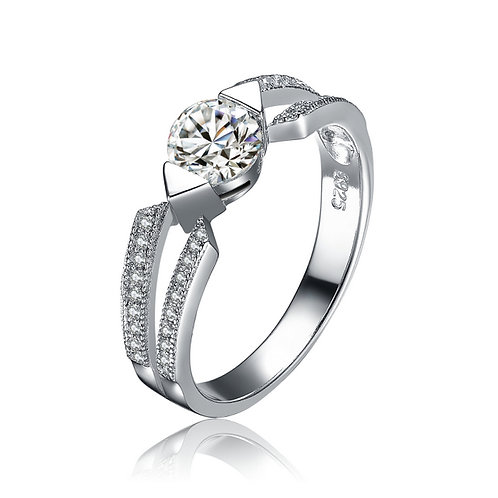 Deco Engagement Pave CZ Ring R1336