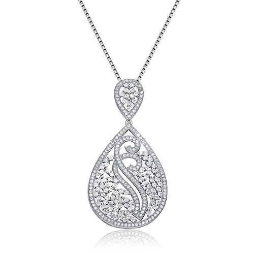 Sterling Silver Rhodium Plated Tear Drop Necklace TCN-PEN8413